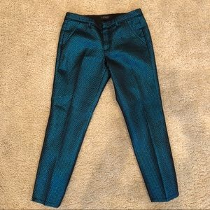 Topshop teal cropped metallic mermaid pants
